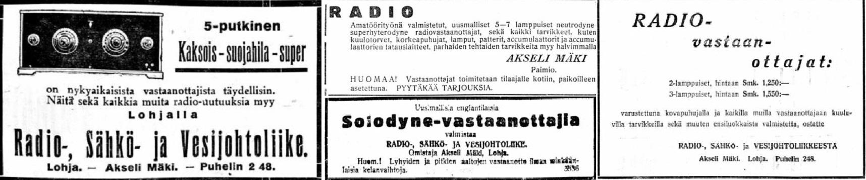 Radio-__Sdhkc-_ja_Vesijohtoliike_Akseli_Mdki_Ldnsi_Uusimaa_no_71_1928__Salon_Seudun_Kunnallislehti_no_87_1926__Turun_Sanomat_no_41_1928___Uusimaan_Tycmies_no_22_1928.jpg