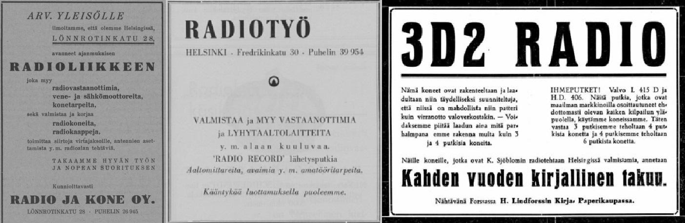 Radio_ja_Kone_Radiomailma_no_23_1923__Radiotyc_Radiosanoma_no_7-8_1931__K___Sjcblom_3D2_Forssan_Lehti_no_119B_1928.jpg